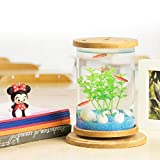 Pawaca Fish Tank Desktop Eco Bottle Rotatable Cylinder Betta Acquario Free Water Change Mini Ornamentali Acquario con Colorful LED Night Light Night per Home Office Decoration(#1)