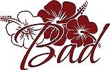 GRAZDesign 650204_30_030 Wandtattoo Spruch Bad mit Frangipani Blume   WC Tür-Aufkleber Gäste-WC   für Toiletten Türen   auf Glas- und Holz-Türen (47x30cm//030 dunkelrot)