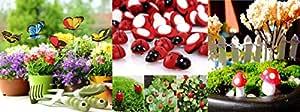 Krisah® 5 pcs Butterflies Stakes,10 pcs Mushrooms & 10pcs Ladybugs Garden/ Plant Decor