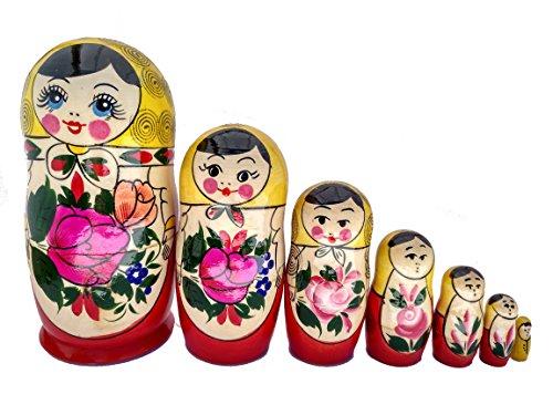 Matryoshka russischen Nesting Puppen Semenov klassische Babuschka Hand Made in Russland 7 Stück 18 cm gelb Top Holz Geschenk Spielzeug