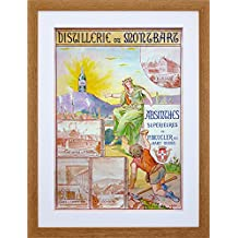 9x7 '' AD ALCOHOL ABSINTHE BEUCLER CRAWLING MOUNTAIN FRAMED ART PRINT F97X035