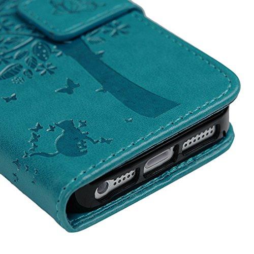 Mavis's Diary Étui iPhone 5/iPhone 5S/iPhone SE Coque en Cuir Imprimé Arbre Bleu Housse Portefeuille Fente de Carte Étui à Rabat Flip Phone Case Cover+Stylet+Bouchon Anti-poussière+Chiffon bleu