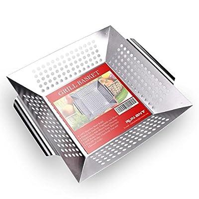 RUN ANT Grill-Korb aus Edelstahl, Gemüseschale mit Griffen Gemüse Grill Pfanne Grillkorb Großer Rost Korb für Rösten von Gemüse,Fleisch,Fisch, Garnelen & Obst,34 x 29,5 x 6,3 cm