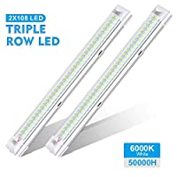 AMBOTHER Interior Lights 12V LED Strip Lights 108 LEDs Bar Lamp Universal Lighting DC12V 4.5W for Car Camper Van Bus Caravan Boat Motorhome Kitchen Bathroom 340MM ON/OFF Switch 18