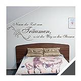 Exklusivpro Wandtattoo Wand-Spruch Nimm dir Zeit zum Träumen. mit SWAROVSKI (zit27 dunkelgrau) 120 x 32cm mit Farb- u. Größenauswahl