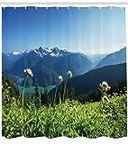 Abakuhaus Duschvorhang, Alpen Landschaft Vielfaltige Natur wiese Blumen Ausblick zur der Natur Foto Digital Design Druck, Wasser und Blickdicht aus Stoff mit 12 Ringen Bakterie Resistent, 175 X 200 cm