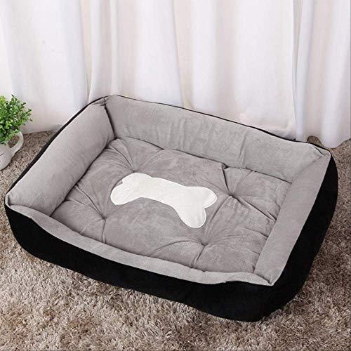 QGHBCZ Hundebett Warmer Hund Waschbare Haustier Diskette Extra Bequeme Plüsch Rand Pad Und Rutschfesten Boden XL 80cm x 60cm x 15cm schwarz -