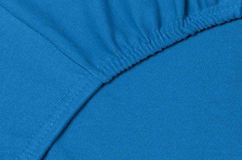 Double Jersey - Spannbettlaken 100% Baumwolle Jersey-Stretch bettlaken, Ultra Weich und Bügelfrei mit bis zu 30cm Stehghöhe, 160x200x30 Cobalt - 5