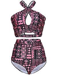 Shanxing Damen Bademode Große Größen Bikini Sets Criss Cross Hohe Taille Badeanzug Badebekleidung