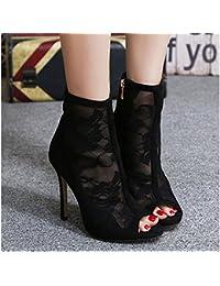 KHSKX-En La Primavera De 8.5 Cm Solo Zapatos Negros Botas De Cuero Con Una  Malla Fina Las Botas De Tacón Alto… 42a122570fc2