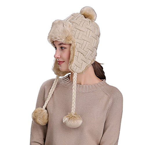 QinMM Sombrero Grueso De Lana De Mujer con Orejeras, Gorro De Gorra De Esquí CáLido Invierno Nieve Hat (Beige)