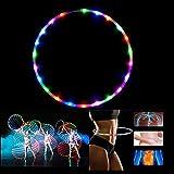 CHSSOOD Fitness Hula Hoop Reifen 28 LED-Leuchten und Zusammenklappbar mit Spektakulären Leuchtenden und Changing Für Erwachsene Tanzen,Fitness Tragbare Hula Hoops