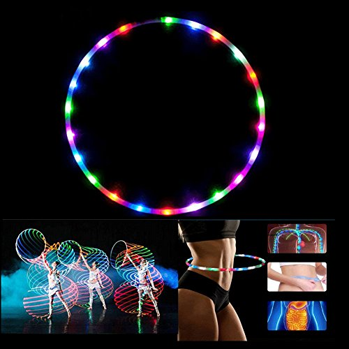 CHSSOOD LED Hula Hoop Batería Seca Y Collapsable - 28 LED Que Cambian De...