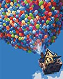 Anself DIY Gemälde Acrylfarben Malen nach Zahlen Kits 40x50cm ohne Rahmen Ballon Fliegen Haus