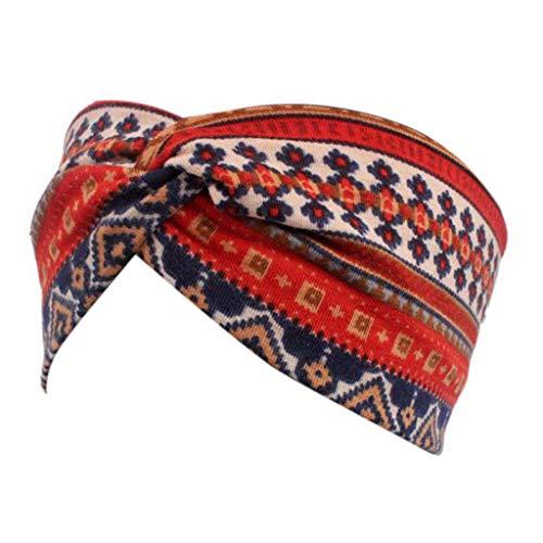 Haptian Mujeres étnicas Impresas Cruzadas Ancho Diadema Trenzado Turbante elástico Hairband Belleza(rojo-1trozo)