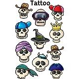 Avery 56736 tatuajes para los niños, el cráneo, la película especial de carácter temporal, 1 hoja, 11 diseños