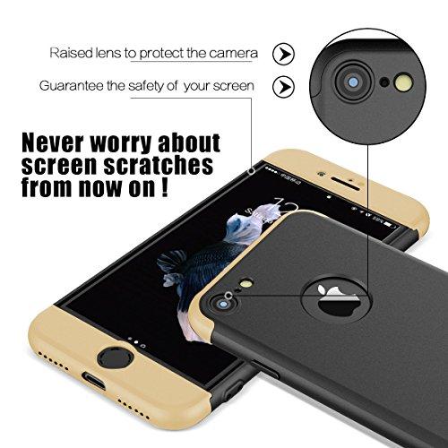 iphone 6/6 plus Coque Pacyer® Protection Dur PC 3 en 1 Full Cover 360 Housse Mince Bumper Etui Accessoires Anti-rayures Mat Anti-Rayures Pour iphone 6s/6s plus Z or+noir