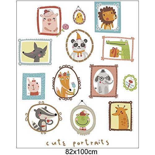RQWY Geldbörse Niedlichen Cartoon Tier Porträt Wandaufkleber Für Kinderzimmer Jungen Baby Wandtattoos DIY Selbstklebende Wandhauptdekor