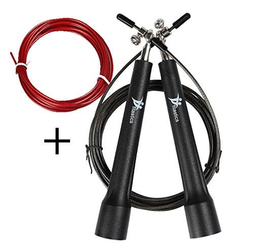 Springseil für Sportler, universal Fitness Seil für Crossift, Training, einstellbare Länge für Ihren Bedarf, mit Anleitung, Ersatzseil und Anti-Rutsch-Griffen, Speed Rope und Heavy Rope 2 in 1 Springseil von fitastics