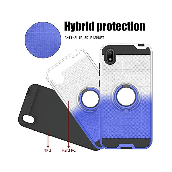 FAWUMAN Case for Huawei Honor 8S,Gradient Phone Protective Case with Phone Ring,Hard PC+ Soft TPU 2in1 Hybrid Double-layer Anti-slip 3D Fishnet Phone Cover (Silver-Blue) FAWUMAN * Shockproof phone case fits for Huawei Honor 8S. * Hard PC+ Soft TPU 2in1 Hybrid Double-layer Anti-slip 3D Fishnet, support good protection to your smart phone.protection to your smart phone. * Case with Phone Ring for you to watch videos. 3