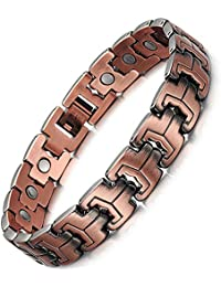 Jeracol Mens Vintage Magnetic Copper Bracelets for Arthritis Pain Relief Strong Magnets Therapy Wristband