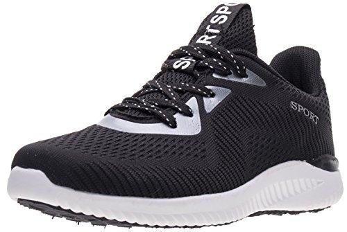 BLOOMNEXT Herren Sportschuhe Atmungsaktiv Gym Fitness Schuhe Turnschuhe Leichtgewicht Laufschuhe Lace Up Freizeitschuhe Trainer Outdoor Sneaker Shoes Weiß Schwarz 42