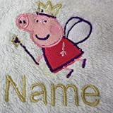 Kinder Kapuzen Bademantel mit einem Peppa Pig Logo und Namen Ihrer Wahl in rosa. Alter 2, 4, 6, 8, 10oder 12, 100 % Terry-Baumwolle, rose, 140