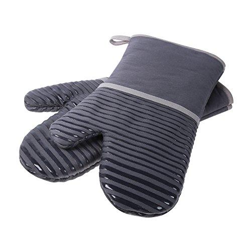 Homever Ofenhandschuhe,Hitzebeständige Handschuhe bis zu 260℃,Silikon Anti-Rutsch Grillhandschuhe, Geeignet für Kochen, Backen, Grillen,Topfhandschuhe,Braun,1 Paar