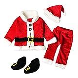 Rawdah Costume di Babbo Natale Bambino Santa Christmas da set vestiti,4PCS Natal stabilito rosso dell'insieme vestiti ragaz neonate dei caprBametti + Tops Pants Hat Socks, (Rosso, 6-12 Mesi)