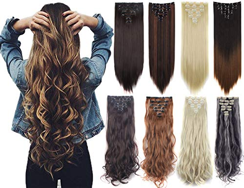 Gerade Echthaar-clips (Lelinta Damen 7Pcs Thick Curly Wellenf rmige gerades Klipp in Doppel Tressen Haarteil Hair Extensions 23 Inch-160g Dunkelbraun bleichen Blonde gerade)