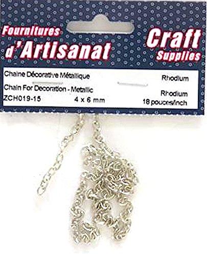 Catena per decorazione rodio 4x 6mm 18pollici Arts & Crafts