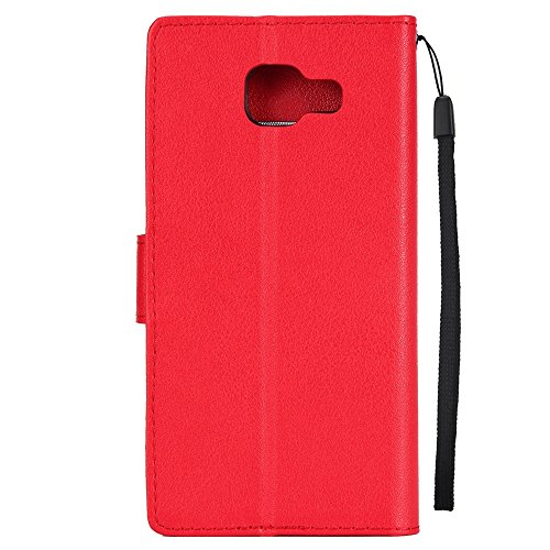 Classic Premiu PU Ledertasche, Horizontale Flip Stand Case Cover mit Cash & Card Slots & Lanyard & Soft TPU Interio Rückseite für Samsung Galaxy A510 ( Color : Darkblue ) Red