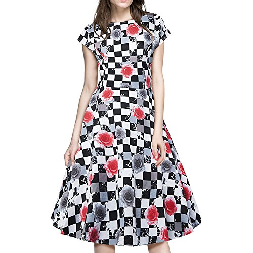 Pinkyee Damen A-Linie Kleid Rot