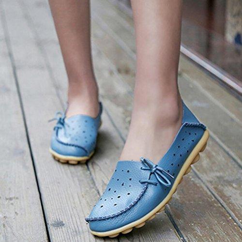 Vogstyle Damen Ballerina Casual Slipper Flach Loafer Schuhe Blau