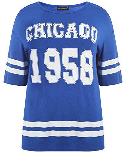 Chocolate Pickle® Neue Damen Plain gestreifte Baseball Sackartiges-T-Shirts,36-50 1958 Chicogo Royal B