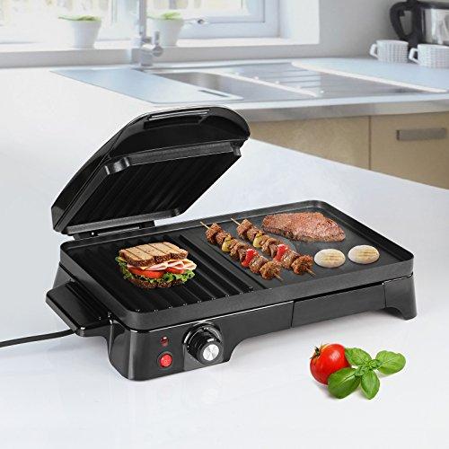 Sandwichera Grill | 2200 W, Placas Antiadherentes, Regulador de Temperatura, Negro | Panini Grill, Toast & Grill, Parrilla Eléctrica, Sandwichera y Máquina de Panini