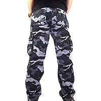 ELECTRI Pantalons de survêtement de décontractés,Hommes Pantalons de Travail Multipoches Grande Taille Sports De Combat Homme Camouflage Pants