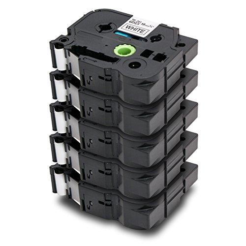 5x Label Tape / Nastro Laminato per BROTHER P-Touch TZe 241 / TZ 241 | nero sur bianco / 18mm x 8m | compatibile per Brother P-Touch