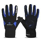 Inbike Fahrradhandschuhe Winter Thermo Gepolsterte Handfläche Radsport Gel Handschuhe Windddichte(Blau,L)
