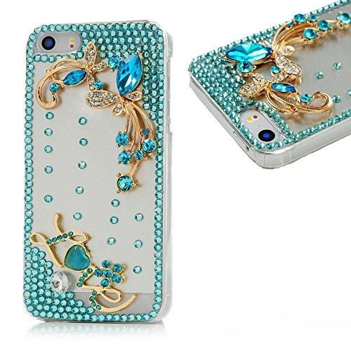 Spritech (TM) 3D Handmade Luxury Blue Diamond Rhinestone-Entwurf klar Hart Caver iPod Touch 6