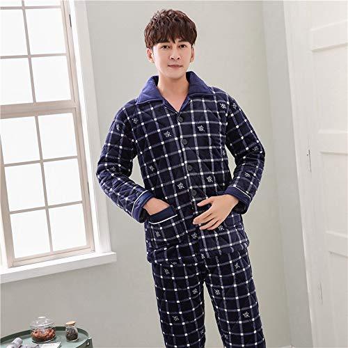 WYTX Herren Schlafanzug Karierter Flanell-Heimserviceherren Pyjama, Schlafanzug, Oberteil Und Hose - Langarm