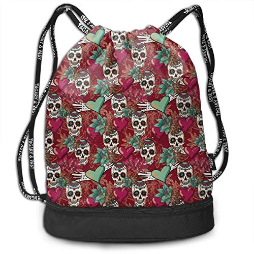 Multipurpose Drawstring Bag for Men & Women, Sugar Skull Figures with Flourishing Exotic Flowers and Pink Hearts with Arrows Art,Tote Sack Large Storage Sackpack for Gym Travel Hiking -