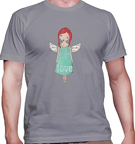 Hommes T-Shirt avec Cute Angel Girl with White Wings Illustration