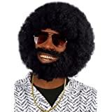 Afroperücke schwarz mit Bart Afro + Vollbart Herren Perücke