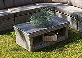 Loungetisch, Gartentisch, Balkontisch, Terrassentisch, Polyrattan, Rattan, Spraystone Tischplatte, creme, grau, rechteckig, Alu, Aluminium