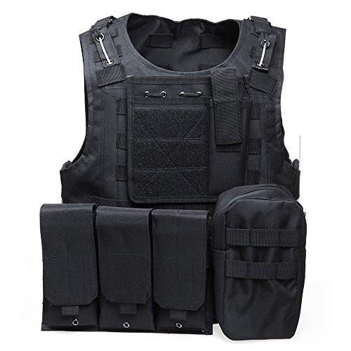 Chaleco Molle táctico militar, anfibio, con portador de placa, para asaltos de combate, negro