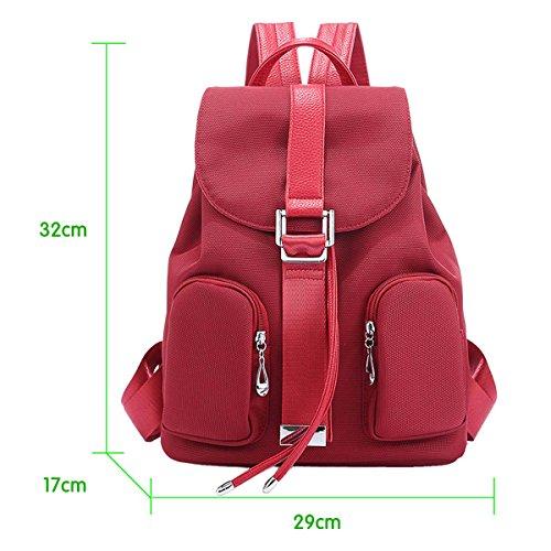 Panegy Damen Mädchen Mode Schulrucksack Zwei Tasche-Rucksack Canvas Schultasche Leinwand Laptop Reisen einfach Rucksack für Freizeit Camping Picknick Außflug Sports Backpack - Caffee Rot