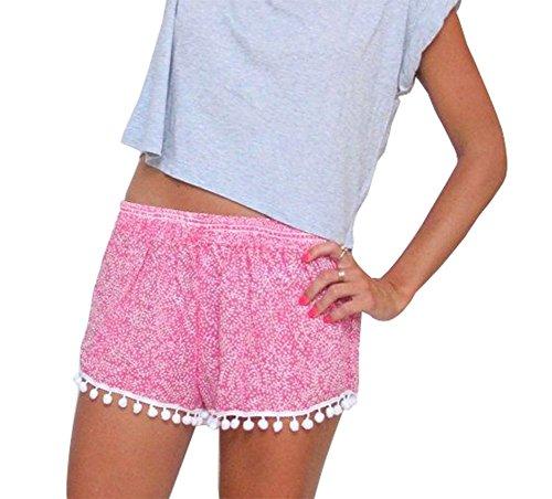 Wealsex Damen Hot Pants Shorts Strand Drucken Blume Quaste Shorts Pink