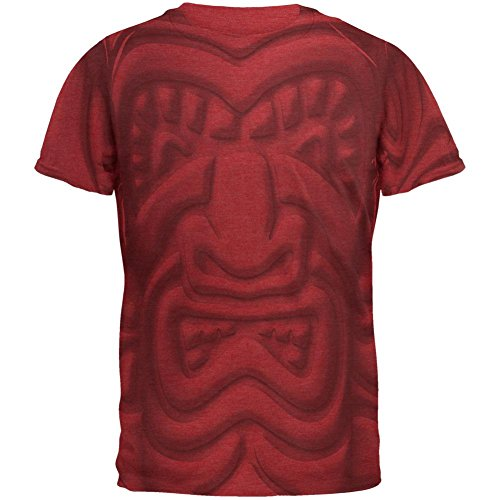 Tiki Gott schwarzes Gesicht Luau Men es Soft T-Shirt Vintage Red MD