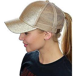 Gorra de béisbol con malla ajustable transpirable a la moda brillante sombreros de sol para mujer al aire libre deporte viajes, dorado